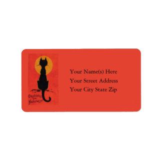 Halloween más negro de vintage de los gatos etiquetas de dirección
