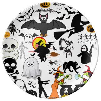 Halloween Mashup Plato De Cerámica