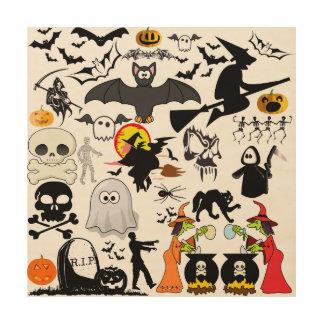 Halloween Mashup Cuadros De Madera