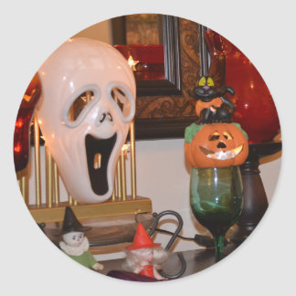 Halloween Mask and Figurines Classic Round Sticker