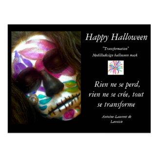 Halloween mask postcard