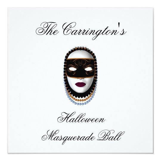 """""""Halloween Masquerade Ball"""" - Black/Gold Mask Card"""