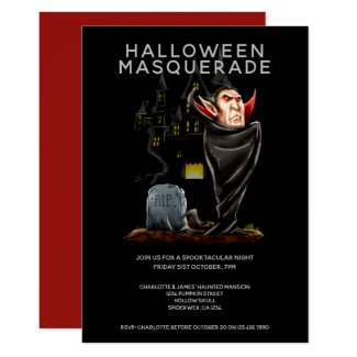 Halloween Masquerade Count Dracula and Grave Invitation