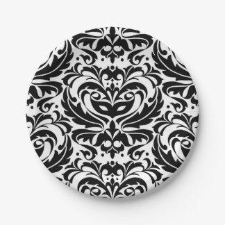 Halloween Masquerade Damask Black Plate