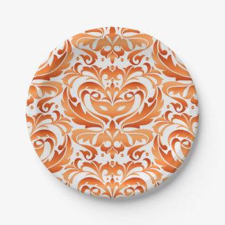 Halloween Masquerade Damask Orange Plate
