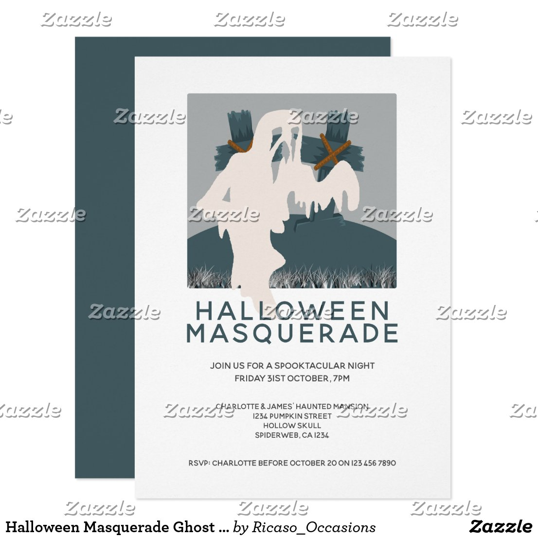 Halloween Masquerade Ghost and Grave Personalized Invitation