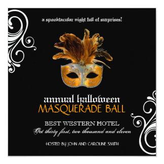 """Halloween Masquerade Invitation ~ CUSTOM 5.25"""" Square Invitation Card"""