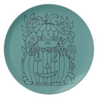 Halloween Masquerade Jack O'Lantern Lineart Design Melamine Plate