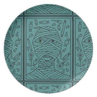 Halloween Masquerade Mummy Lineart Design Melamine Plate