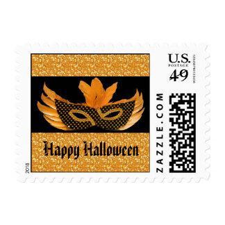 Halloween Masquerade Orange Glitter Postage Stamps