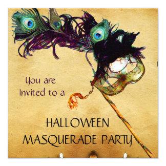 HALLOWEEN MASQUERADE PARTY black blue white Invitations