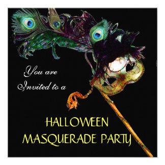 HALLOWEEN MASQUERADE PARTY,Black yellow blue Custom Invites