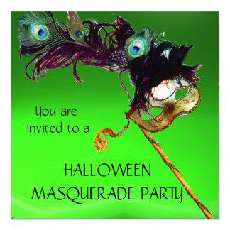 """HALLOWEEN MASQUERADE PARTY, Green Orange 5.25"""" Square Invitation Card"""