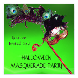 """HALLOWEEN MASQUERADE PARTY, Green red 5.25"""" Square Invitation Card"""
