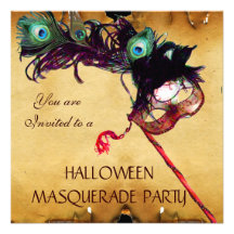 HALLOWEEN MASQUERADE PARTY parchment Custom Invitation