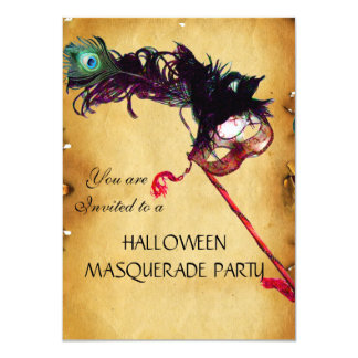 HALLOWEEN MASQUERADE PARTY, parchment rsvp Card