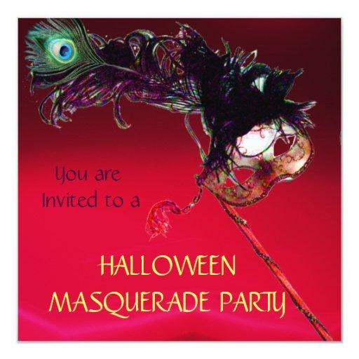 HALLOWEEN MASQUERADE PARTY, Red burgundy Invitation