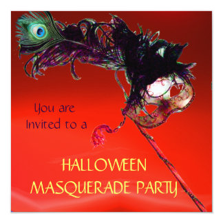 """HALLOWEEN MASQUERADE PARTY, Red 5.25"""" Square Invitation Card"""