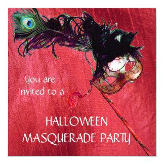 HALLOWEEN MASQUERADE PARTY, Red Yellow silk Card