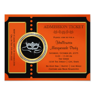 Halloween Masquerade Party Ticket 4.25x5.5 Paper Invitation Card
