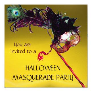 "HALLOWEEN MASQUERADE PARTY, Yellow Orange 5.25"" Square Invitation Card"