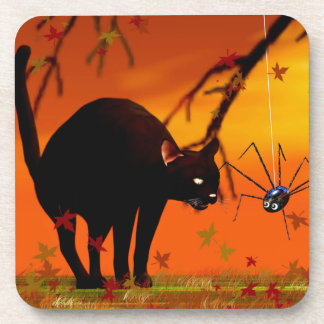 Halloween Meeting - Black Cat and Spider Beverage Coaster