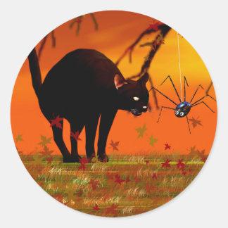 Halloween Meeting - Black Cat and Spider Classic Round Sticker