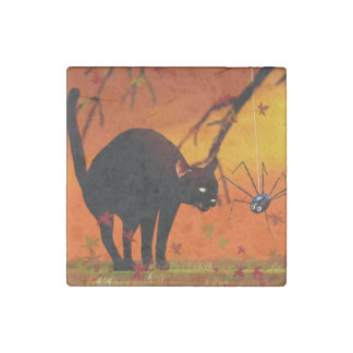 Halloween Meeting - Black Cat and Spider Stone Magnet