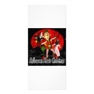 Halloween meets Christmas, elf running away Custom Rack Card