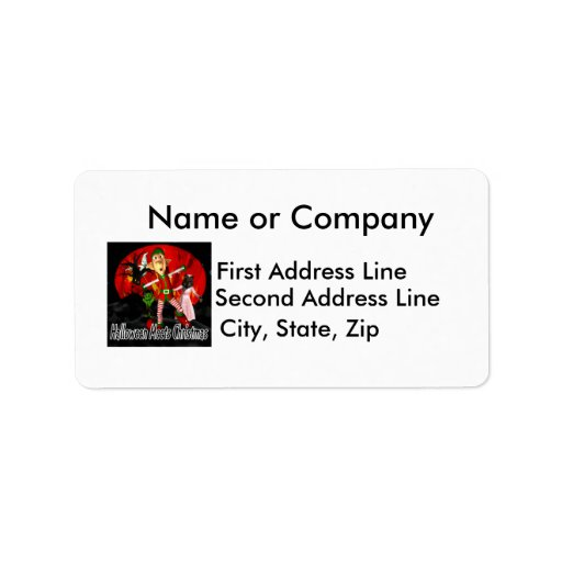 Halloween meets Christmas, elf running away Personalized Address Labels