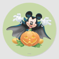Round Sticker with Vampire Mickey Mouse with Halloween Pumpkin design