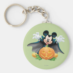 Basic Button Keychain with Vampire Mickey Mouse with Halloween Pumpkin design