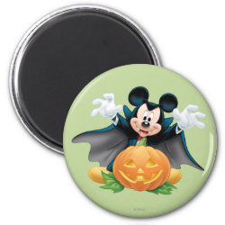 Round Magnet with Vampire Mickey Mouse with Halloween Pumpkin design