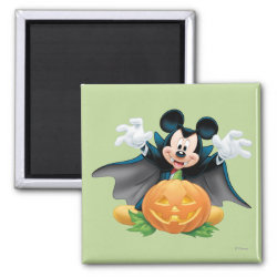 Square Magnet with Vampire Mickey Mouse with Halloween Pumpkin design