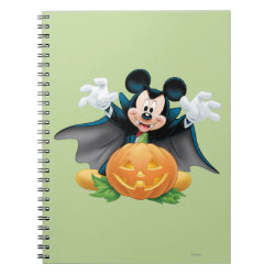 Photo Notebook (6.5' x 8.75', 80 Pages B&W) with Vampire Mickey Mouse with Halloween Pumpkin design