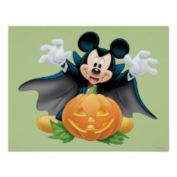 Vampire Mickey Mouse with Halloween Pumpkin Matte Poster