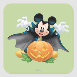 Vampire Mickey Mouse with Halloween Pumpkin Square Sticker