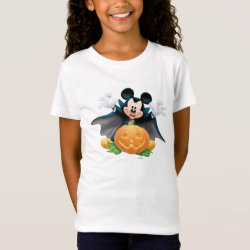 Girls' Fine Jersey T-Shirt with Vampire Mickey Mouse with Halloween Pumpkin design