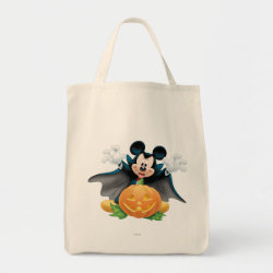 Vampire Mickey Mouse with Halloween Pumpkin Grocery Tote