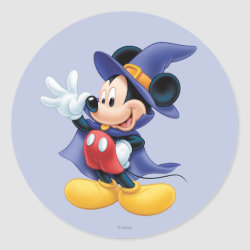 Round Sticker with Halloween Mickey Mouse as Sorcerer with hat & cape design