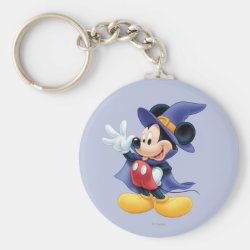 Basic Button Keychain with Halloween Mickey Mouse as Sorcerer with hat & cape design