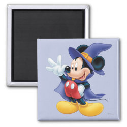 Square Magnet with Halloween Mickey Mouse as Sorcerer with hat & cape design