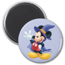 Round Magnet with Halloween Mickey Mouse as Sorcerer with hat & cape design