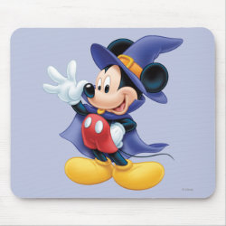 Mousepad with Halloween Mickey Mouse as Sorcerer with hat & cape design
