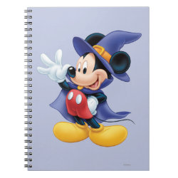 Photo Notebook (6.5' x 8.75', 80 Pages B&W) with Halloween Mickey Mouse as Sorcerer with hat & cape design