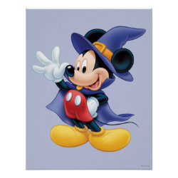 Matte Poster with Halloween Mickey Mouse as Sorcerer with hat & cape design