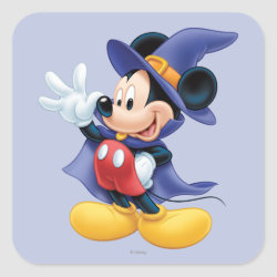 Square Sticker with Halloween Mickey Mouse as Sorcerer with hat & cape design