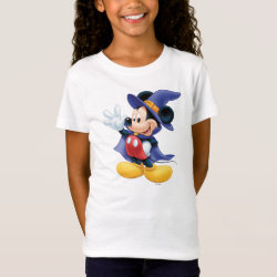 Girls' Fine Jersey T-Shirt with Halloween Mickey Mouse as Sorcerer with hat & cape design