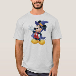 Men's Basic T-Shirt with Halloween Mickey Mouse as Sorcerer with hat & cape design