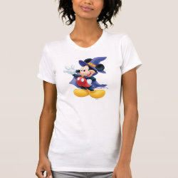 Women's American Apparel Fine Jersey Short Sleeve T-Shirt with Halloween Mickey Mouse as Sorcerer with hat & cape design